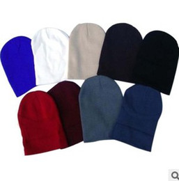 Wholesale Cheap Baseball Beanies - Cheap Hot Selling Plain Blank Beanies Winter Knitted Beanie Baseball Hip Hop Hats Caps Nice Colors Mixed Order Free Shipping