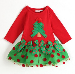 Wholesale Wholesale Little Girl Skirts - Christmas dress Baby skirt lovely Christmas series, koopo Christmas red long-sleeved dress girl little New Year's gift 5sets lot