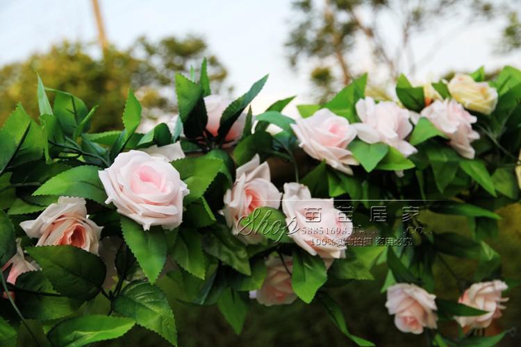 2.4M larga artificiales de Rose de seda de flores de la vid Wisteria Rattan para matrimonio vid de la flor de simulación de seda rosas flor de es en stock