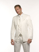 Wholesale white linen piece suit blue tie resale online - Custom made NEW Groom Tuxedos Wedding Groomsman Suit Groomsman Bridegroom Suits Jacket Pants Tie Vest arab