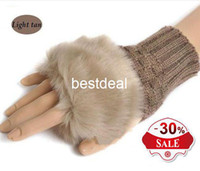 Wholesale Fur Arm Warmers - Wholesale 2016 Fashion Winter Arm Warmer Fingerless Gloves, Knitted Fur Trim Gloves Mitten Fast shipping wholesale