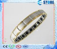 Wholesale Bracelet Germanium Dhl - DHL Free Magnetic Anion Energy Bracelet with 20 Germanium Rolling Stones Quantum Health Golden Side Jewelry, 50 Pcs lot