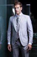 Wholesale Shiny Suits Sale - Shiny silver grey tuxedos Hot Sale One Button Tuxedos Wedding Groomsman Suit Bridal Groom Best Mens Suits (Jacket+Pants+Vest+Tie)
