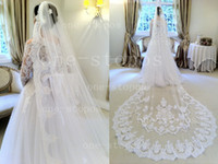 Wholesale One Stopos - New Arrival Hot One-Stopos Bridal Veils Two Layers Tulle With Precious Lace Wedding Accessories BO1900