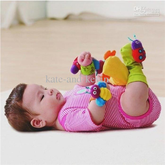2018 Wholesale 5 5 Lamaze Wrist Rattle Foot Socks Toy Set Foot