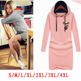 Wholesale Hooded Plus Size Dress - 2017 Sport dress Fashion women sexy dresses plus size Hooded casual ladies dress Autumn&winter dress pullover long sleeve girl skirt AU13
