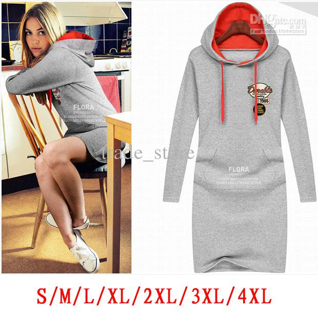 2017 novo esporte dress moda mulheres sexy vestidos plus size com capuz manga comprida casual ladies dress autumnwinter dress pullover clothing au13