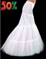 hochzeit petticoats elfenbein großhandel-Weiß Elfenbein 1 Hoop Tüll Mermaid Damen Petticoat Slip für Hochzeit Brautkleid Stretchy Lady Unterrock Crinoline Full Formale Party Abend