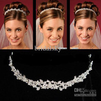 Wholesale Hair Jewels Headbands - 2016 New Cheapest Crowns Hair Accessory Rhinestone Jewels Pretty Crown Without Comb Tiara Hairband Bling Bling Wedding Accessories JA494