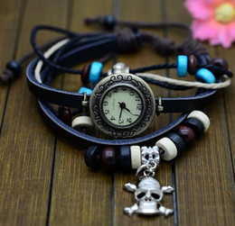 Wholesale Girls Skull Watches - Free shipping 20pcs High Quality Genuine Leather Vintage Wristwatches Retro Quartz Fashion Girl Bracelet Watches skull Accessorize