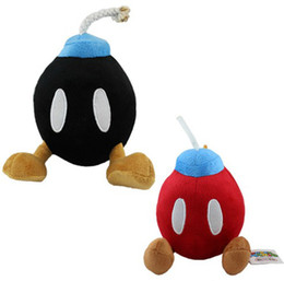 Boneca de brinquedo super fofa e fofa on-line-BOB-OMB BOMBA Bonito Macio Super Mario Bros Boneca De Pelúcia Brinquedo Preto e vermelho 5 '' polegadas