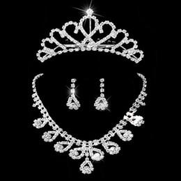 Wholesale Womens Bridal Sets - Bridal jewelry sets rhinestones wedding jewelry Womens rhinestone necklace earrings and tiara Set 1 set retaile
