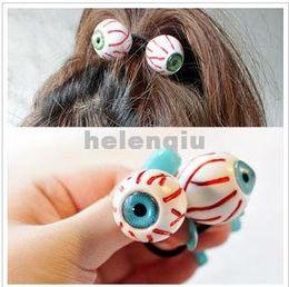 Wholesale Japanese Fashion Wigs - Fashion Hair rope Japanese Harajuku zipper with paragraph bloodshot eyeball eyes personalized ring Ribbon Hair Rope hairpin