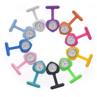 Wholesale Heart Silicone Nurses Watch - Promotion! Free Shipping Doctor Nurse Brooch Fob Watch Silicone Watches + 12 Colors Silicone Cover 200pcs lot