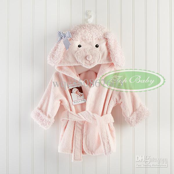 EMS Free Unisex Toddle Baby Cartoon Animal Hooded Bathrobe Children Boys Girls Soft Plush Fleece Sleepwear Robe Kids Beach Bath Towel