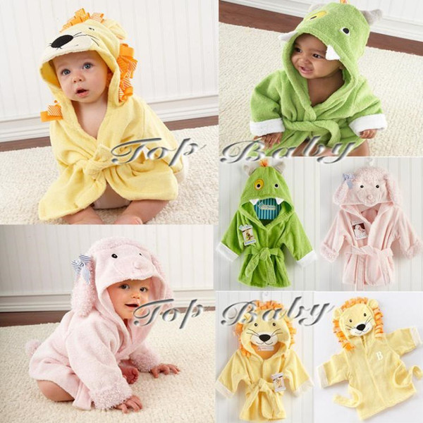 EMS Free 20 PCS Unisex Toddle Baby Cartoon Animal Hooded Bathrobe Children Boys Girls Soft Plush Fleece Sleepwear Robe Kids Beach Bath Towel