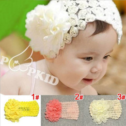 Wholesale Chiffon Flower Lace Hair Accessory - Girl Headbands Chiffon Big Flower Lace Hair Band Girl Hair Accessories For 1-5 Years Watermelon red Yellow Beige