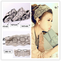 Wholesale Wide Stretch Lace Headband - Pretty Womens Crochet Lace Knit Floral Hoop Wide Stretch Headband Hair Band