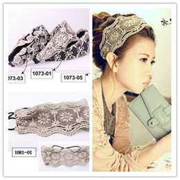 Wholesale Stretch Knit Headband - Pretty Womens Crochet Lace Knit Floral Hoop Wide Stretch Headband Hair Band