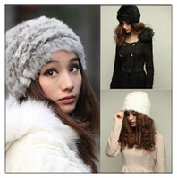 Wholesale Top Handmade Beanies - Hot sale Fashion Womens Winter Warm 100% Rabbit Fur Hat Soft Handmade Knit Cap 8 Colors