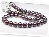 Wholesale Rare Pearls - NEW FINE PEARL JEWELRY RARE TAHITIAN 9-10MM SOUTH SEA round BLACK PURPLE PEARL NECKLACE 19inch silver clasp