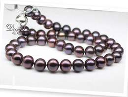 Wholesale Tahitian Purple Pearl - NEW FINE PEARL JEWELRY RARE TAHITIAN 9-10MM SOUTH SEA round BLACK PURPLE PEARL NECKLACE 19inch silver clasp