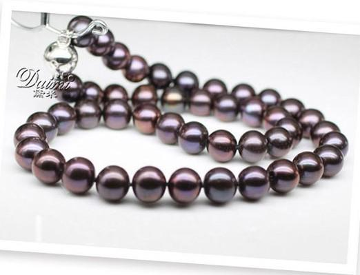 best selling NEW FINE PEARL JEWELRY RARE TAHITIAN 9-10MM SOUTH SEA round BLACK PURPLE PEARL NECKLACE 19inch silver clasp