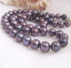 NUOVA JEWRY FINE PERLA Genuine10-11mm 22nches Akoya Black Purple Perle Collana 925 argento
