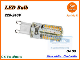 Wholesale G9 Halogen Lamp Light Bulb - X10 Free shipping High Power LED Lamp SMD 3014 5W 220-240V G4 G9 64 leds Replace 50W halogen bulb LED light lamp warranty 2 years