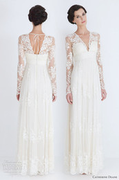 Robes De Mariée Antidérapantes Antidérapantes En Satin Pas Cher-Vintage Sheath Lace Applique Robes de mariée en satin 2016 avec manches longues Longueur au sol V Neck Ivory Tulle Country Style Backless nuptiale Robe