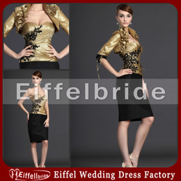 Wholesale Silver Beaded Bolero Jacket - Black and Gold Knee Length Short Mother of the Bride Dresses with Jacket Beaded Black Appliques Half Sleeved Bolero