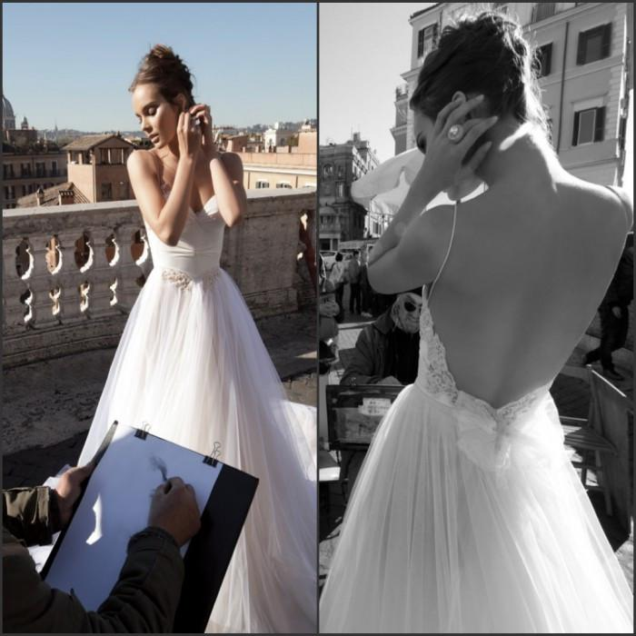 Free Shipping Inbal Dror Spaghetti Straps Lace Trim Naked Back A-Line Wedding Dresses With Beads Bridal Gowns Sleeveless Beach Sweep Train