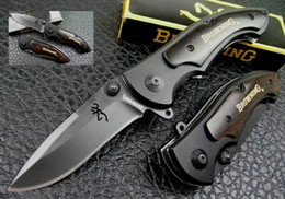 cool knife handles 2019 - BROWNING 57HRC 440C blade Steel + aluminum + ebony handle folding knife utility cool camping tactical hiking knives Chri