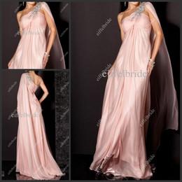 Wholesale Plus Size Womens Summer Wear - 2016 Popular One Shoulder Dresses Evening Wear Elegant Empire Pregnant Womens A Line Dusky Pink Chiffon Formal Prom Dress Long