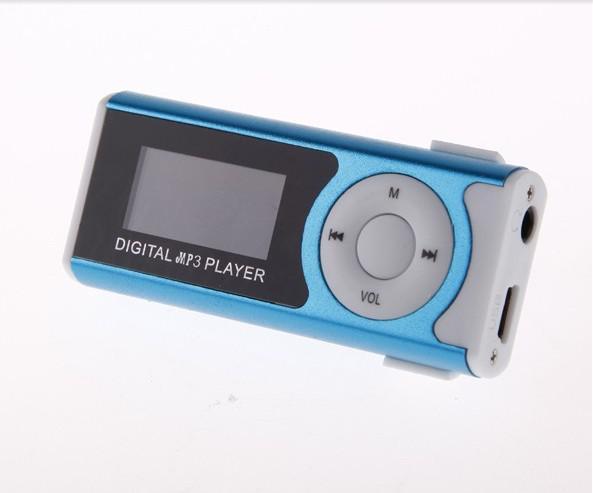 البسيطة شاشة LCD 5 ألوان ميمي كليب مشغل موسيقى MP3 مع رئيس مصباح يدوي سماعة كبل USB دعم مايكرو SD / TF فتحة