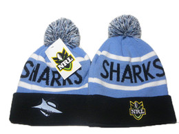 Wholesale Cuffed Pom Beanies - Cronulla Sharks beanie knit pom beanie NRL beanies knit cuff woolen hats for sale top quality NRL beanies fashion winter knitting hats DD