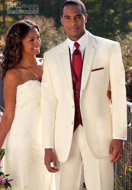2018 Custom Made Ivory Suit Burgundy Vest Groom Tuxedos Best Man ...