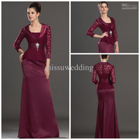 Wholesale Burgundy Taffeta Jacket - Burgundy Strapless Sheath Full length Satin Open back With Jacket Long sleeves Lace mother of the bride dresses Formal evening dress Prom