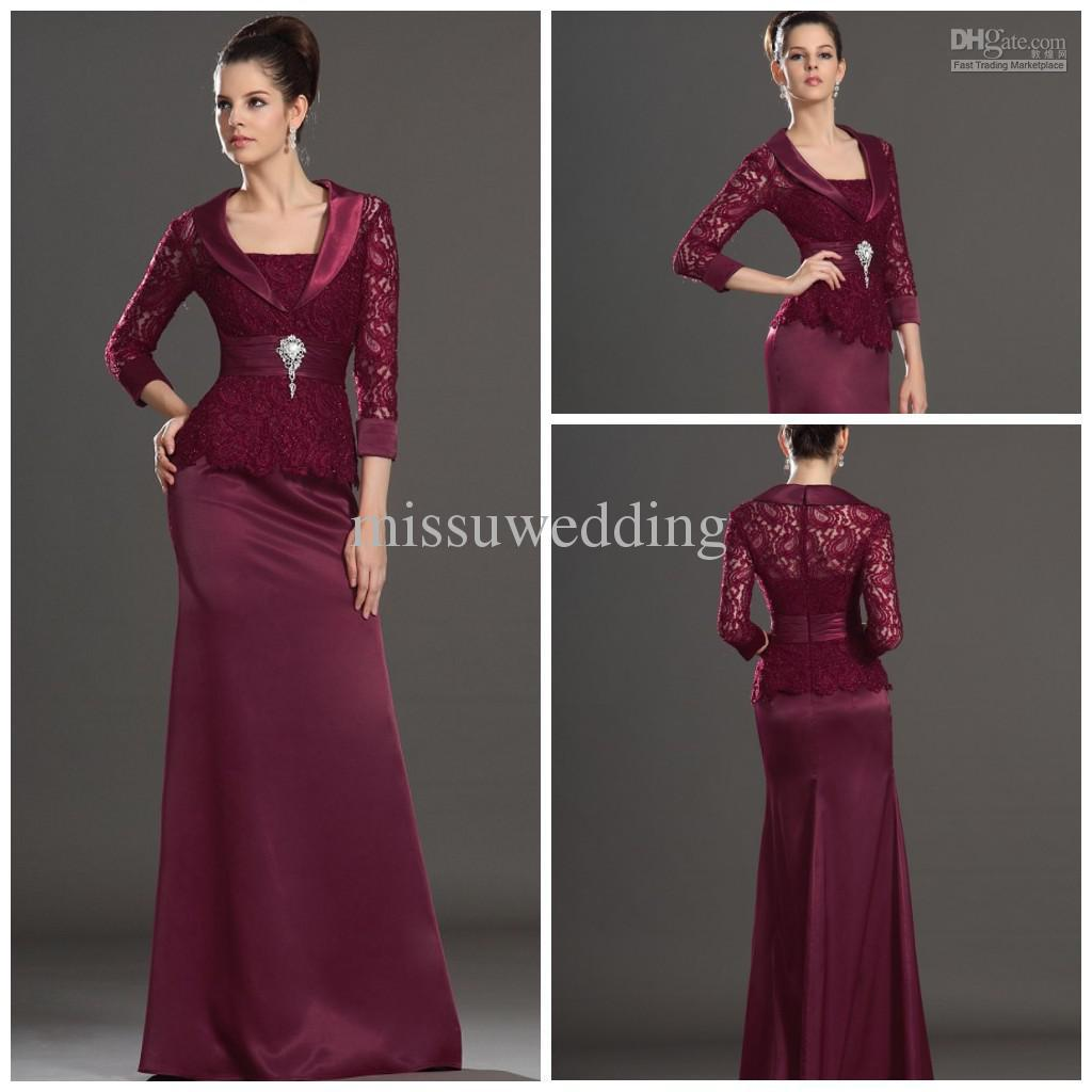Burgundy Strapless Sheath Full Length Satin Open Back With Jacket ...