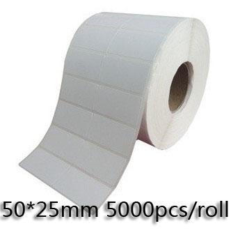50 * 25mm / Roll Termisk överföring Blank Streckkodsetiketter, Konstpapper Lim Tryckt etikett Klistermärke, Gratis frakt