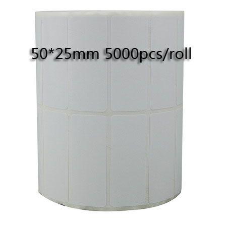 50 * 25mm 5000 stücke / rolle thermotransfer leere barcode-etiketten, kunststoff klebstoff gedruckt etikettenaufkleber, freies verschiffen