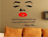 Wholesale Marilyn Monroe Wall Lips - Fashion Marilyn Monroe Wall decals Red Lips English wall stickers Home Decoration 60*60cm Art Home Wall Decals Removable