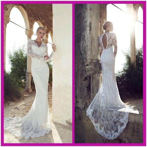 2014 Elegant Vintage V Neck Long Sleeves Wedding Dresses Beads Lace ...