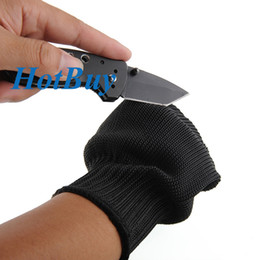 Wholesale Anti Slash - 1Pair Black Stainless Steel Wire Safety Works Anti-Slash Cut Resistance Gloves #2560