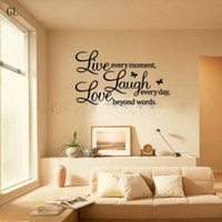 words live laugh love al por mayor-5pieces risa viva del amor de la mariposa Arte cotización de la pared pegatinas, Palabras Wall Decal deletreado