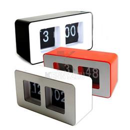 fashion retro automatic flip clock classic modern desk clock file page clock black white red free shipping - Designer Desk Clock