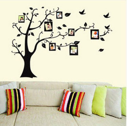 Wholesale Flowering Trees Photos - 50pcs via DHL Photo Frame Tree Flower Leaves Art Wall Sticker Wall Decal Decor 110*90cm