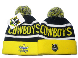 Wholesale Woolen Caps For Men - North Queensland Cowboys beanie NRL beanies knit cuff woolen hats for sale top quality NRL beanies fashion winter knitting hats DD