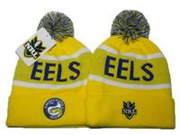 Wholesale Woolen Hats For Women - yellow Parramatta Eels knit pom beanie NRL beanies knit cuff woolen hats for sale top quality NRL beanies fashion winter knitting hats DD