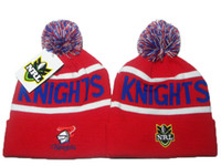 Wholesale Wool Winter Cuffed Knit Hat - Red Newcastle Knights knit pom beanie NRL beanies knit cuff woolen hats for sale top quality NRL beanies fashion winter knitting hats DD